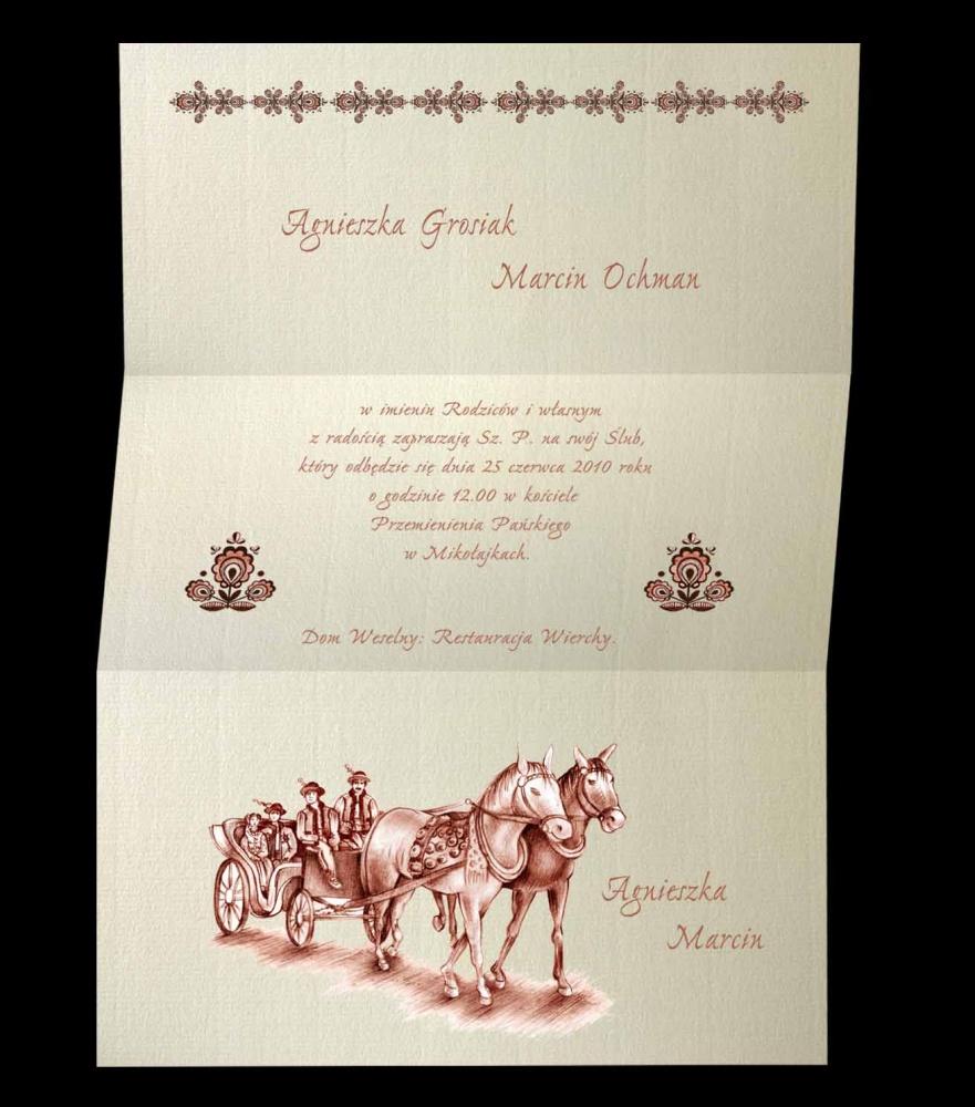 Zaproszenia ślubne B 7004 Zaproszenia Góralskie
